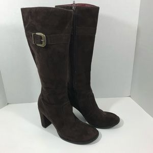 Rampage | Tall Heeled Boots Brown | Suede Feel